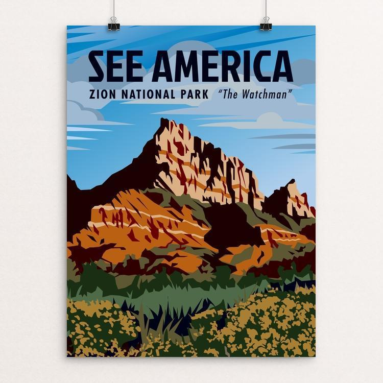 "Zion National Park, the Watchman by Phil Ah You 12"" by 16"" Print / Unframed Print See America"