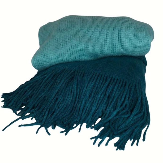 TEAL BLUE OMBRE THROW