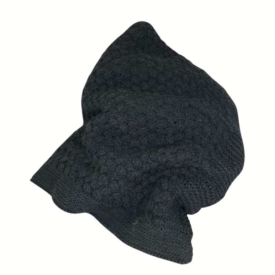 CHARCOAL BASKETWEAVE KNIT THROW