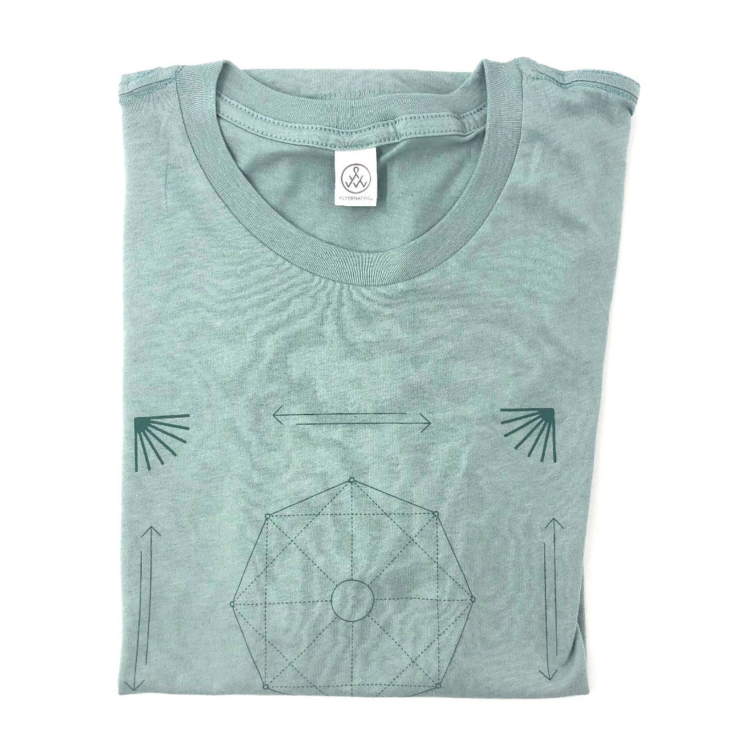 Esalen Organic T'shirt in Faded Teal, Size XS