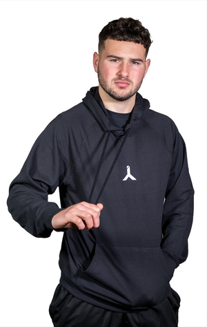 Lightweight Black Hoodie with White Logo