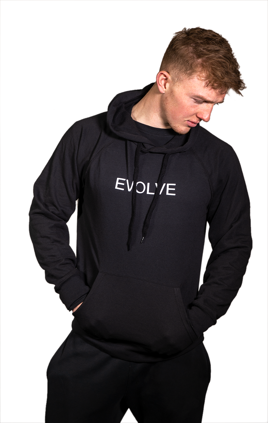 Lightweight Black Hoodie with White Evolve