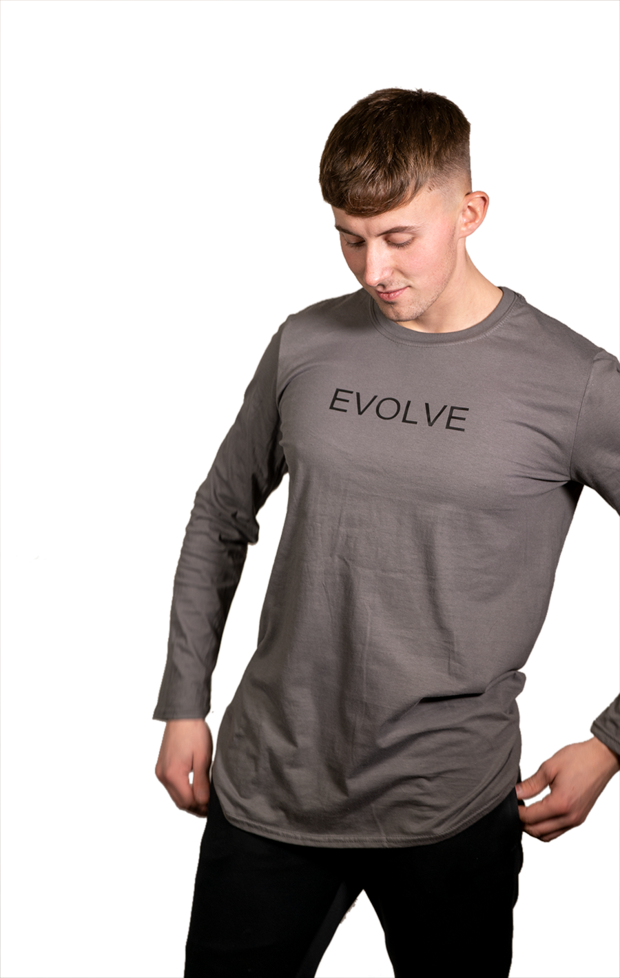 Long Sleeve Grey T Shirt with Black Evolve