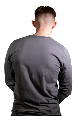 Long Sleeve Grey T Shirt with White Evolve