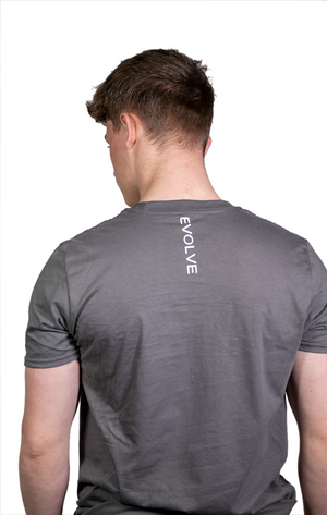 Short Sleeve Grey T Shirt with White Logo
