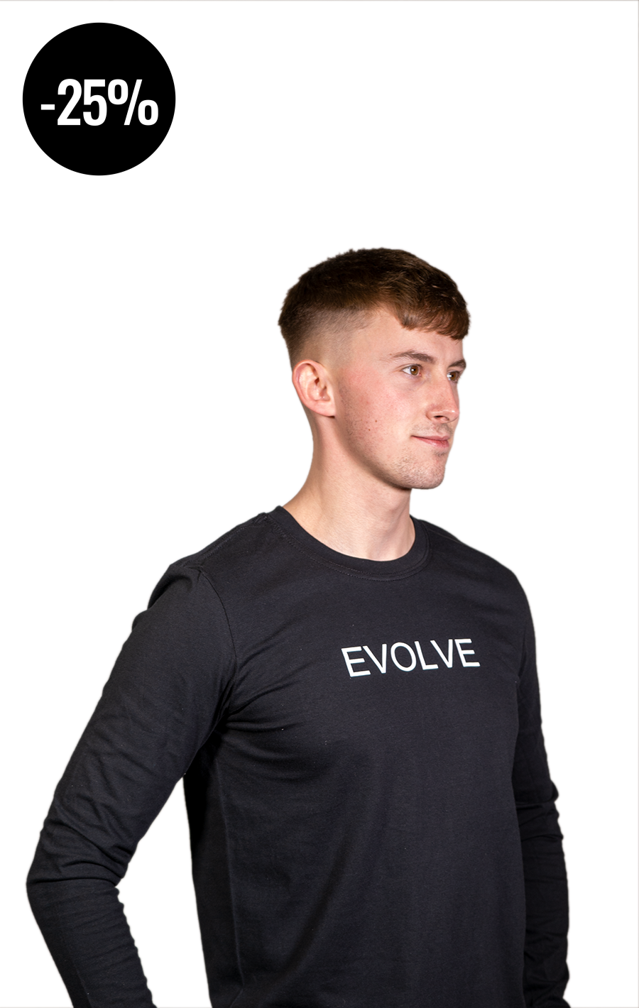 Long Sleeve Black T Shirt with White Evolve