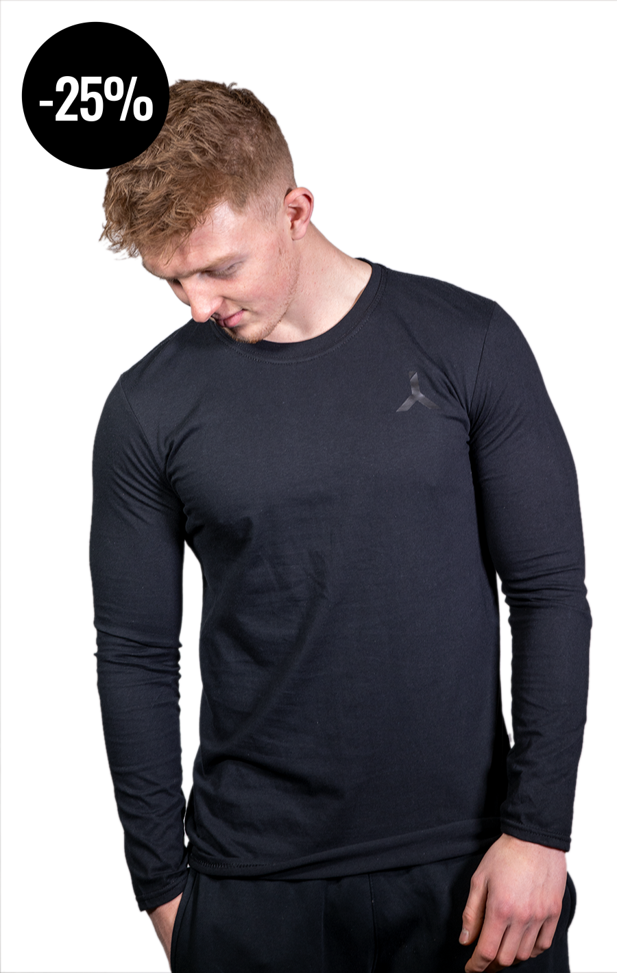 Long Sleeve Black T Shirt with Black Logo
