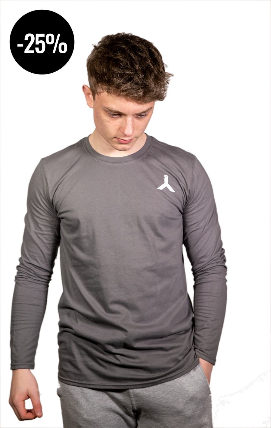Long Sleeve Grey T Shirt with White Logo