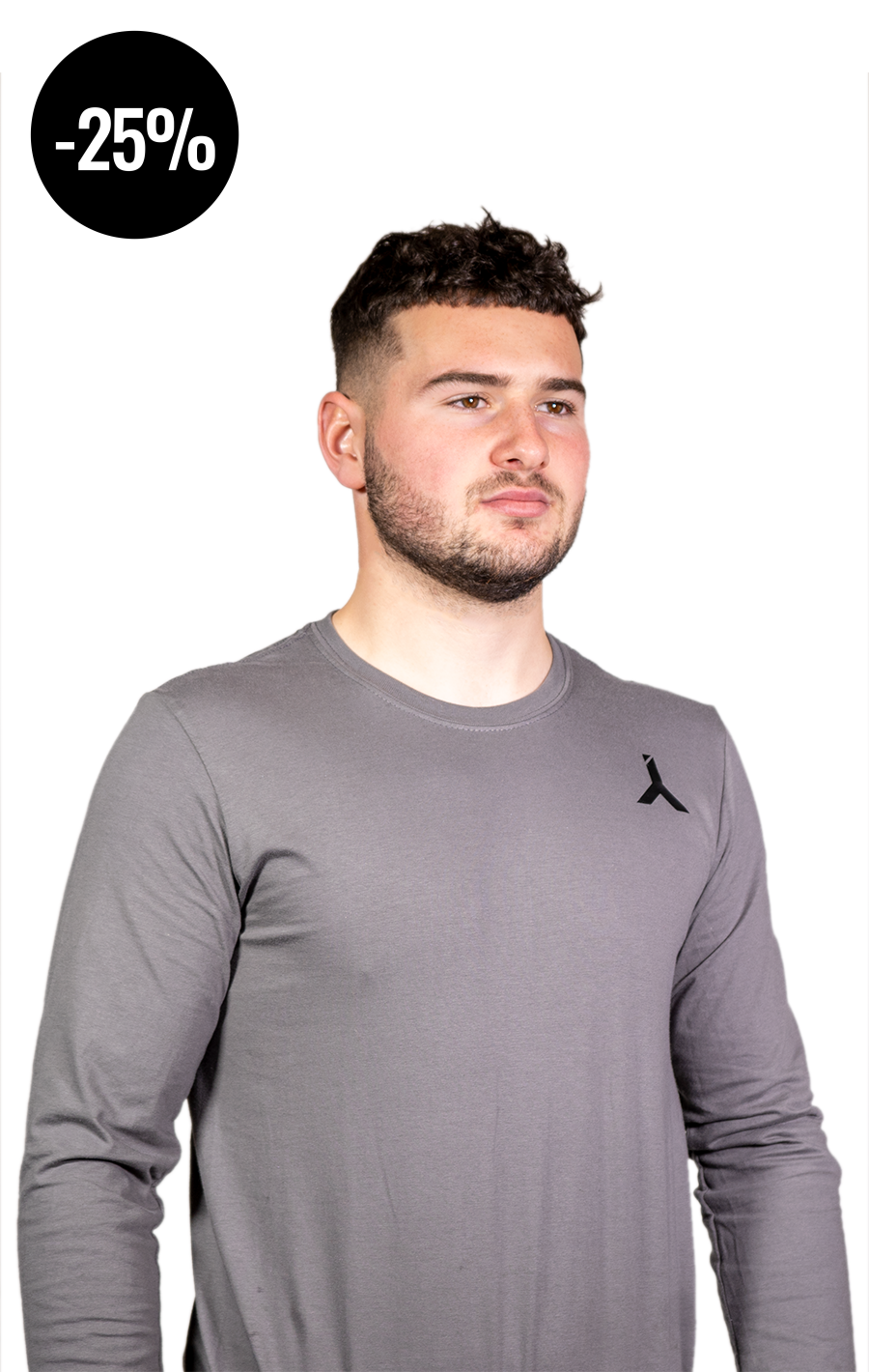 Long Sleeve Grey T Shirt with Black Logo