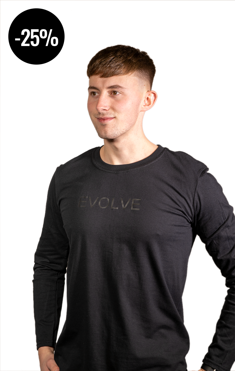 Long Sleeve Black T Shirt with Black Evolve