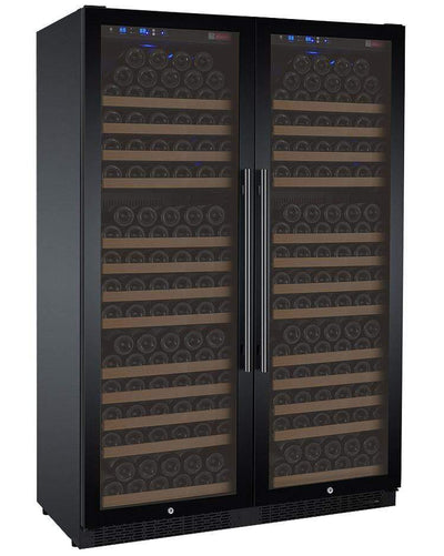 "Allavino 47"" Wide FlexCount II Tru-Vino 354 Bottle Dual Zone Black Side-by-Side Wine Refrigerator BF 2X-VSWR177-1B20"