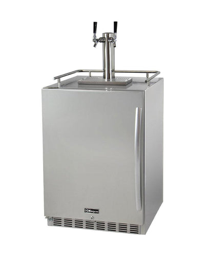 "Kegco 24"" Wide Dual Tap All Stainless Steel Outdoor Built-In Left Hinge Kegerator with Kit HK38SSU-L-2"