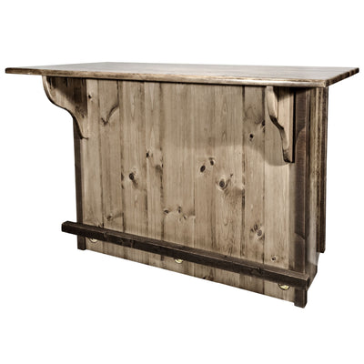 Montana Woodworks Homestead Collection Deluxe Bar with Foot Rail, Stain & Clear Lacquer Finish MWHCBWRDSL