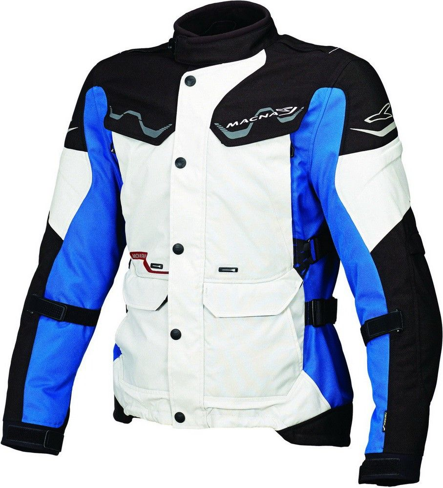 Macna mountain motorjas, black/grey/blue. Maat L. OUTLET