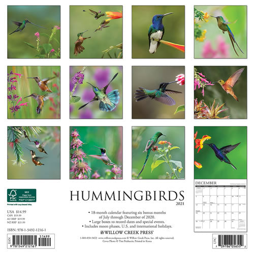 Hummingbirds 2021 Wall Calendar