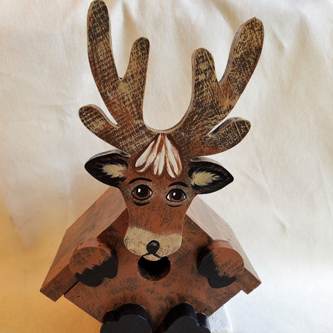 Handcrafted Bird House Deer Designed