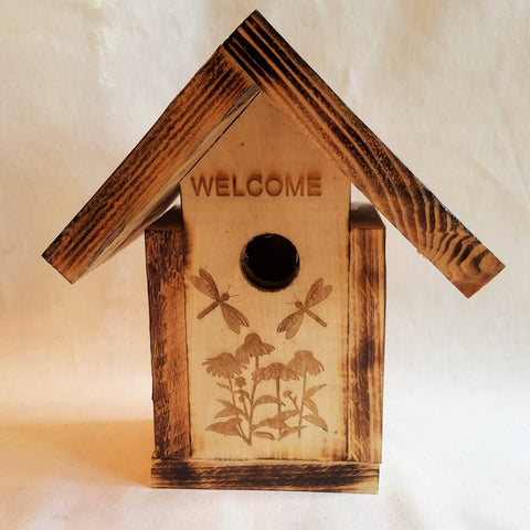 Handcrafted Bird House With Dragonfly Design