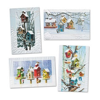 Bright Birdhouses 4 Assorted Holiday/Christmas Cards 20/Box