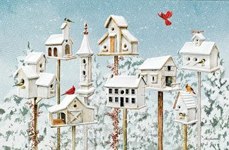 Pumpernickel Press Winter White Birdhouses Christmas Card 16/Box