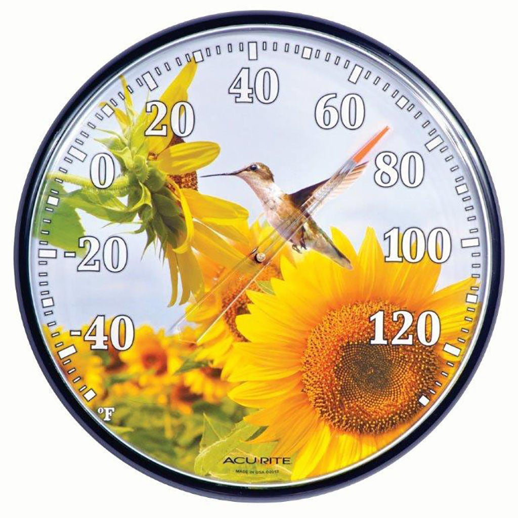 Accurite 12.5 IN Hummingbird Sunflower Indoor/Outdoor Thermometer