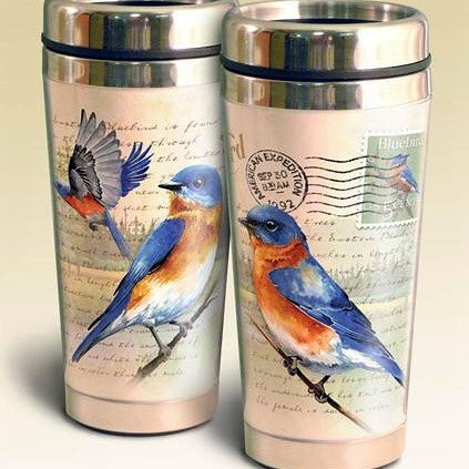 American Expedition 16 Oz Bluebird Postcard Stainless Steel Travel Mug