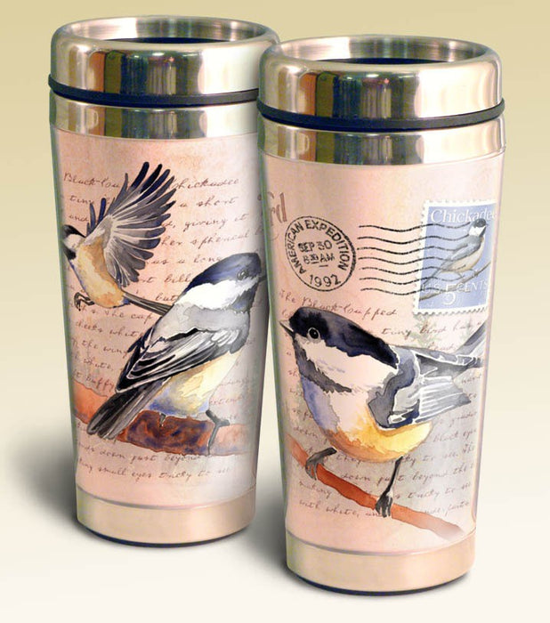 American Expedition 16 Oz Chickadee Postcard Stainless Steel Travel Mug