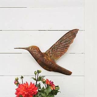 Ancient Graffiti 18 IN x 13.5 IN Flamed Copper Hummingbird Wall Art