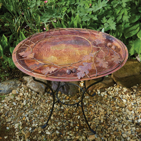 Ancient Graffiti Oval Branch Flamed Standing Birdbath