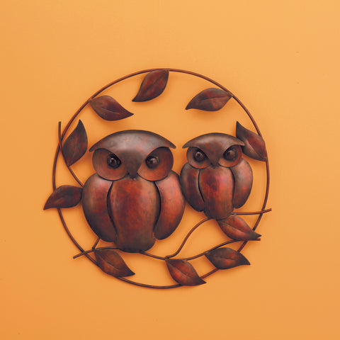 18 IN Owl Duo Flamed Wall Decor