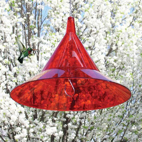 Arundale Hummer Hat 17 IN Red Clear Recycled Plexiglass Dome Hanging Baffle