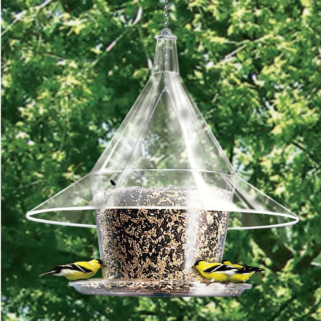 Arundale Mandarin Sky Cafe 17 IN Clear Squirrel Proof Dome 1.5 Gal Circular Tray Design Bird Feeder