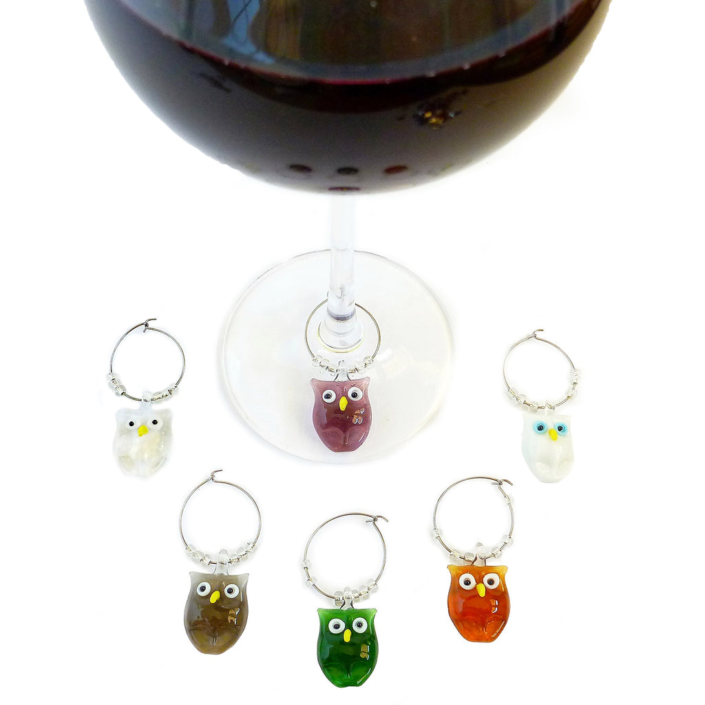 Owl Wine Marker Set Of 6