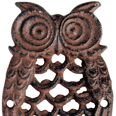 Antique Brown Cast Iron Owl Single Hook