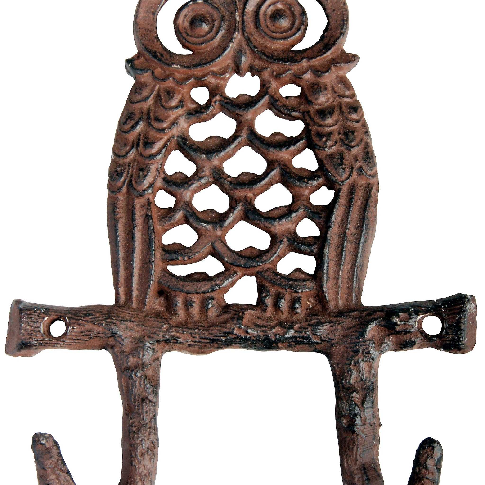 Antique Brown Cast Iron Owl Double Hook