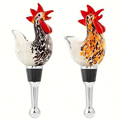 Set Of 2 Rooster Bottle Stoppers