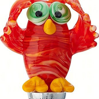 Red Owl Glass Bottle Stopper