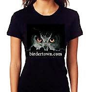Owl Over Birdertown - Women's Black T-Shirt