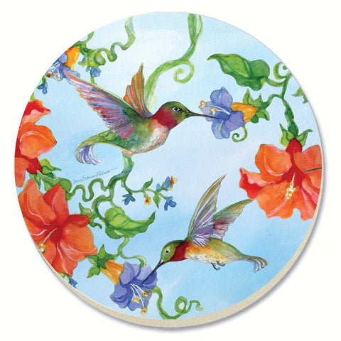 Counter Art 4 IN Set of 4 Hummingbirds With Orange Stoneware Coasters
