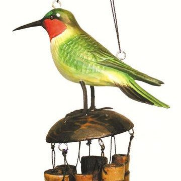 Cohasset Imports 16 IN 3.25 IN x 3.25 IN Ruby Throated Hummingbird Bamboo Low Tone Wind Chime
