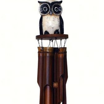 Cohasset Imports 5 IN x 5 IN x 36 IN Oscar Owl Bamboo Low Tone Wind Chime