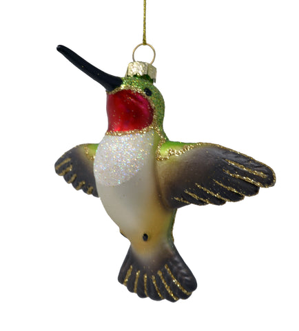 Male Ruby Throated Flying Hummingbird Ornament