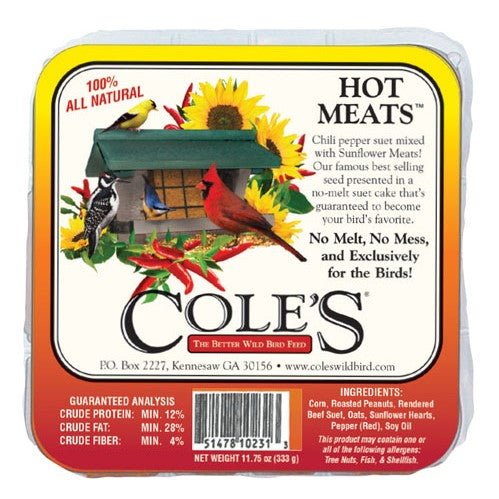 Cole's Wild Bird Products Hot Meats Suet Cake