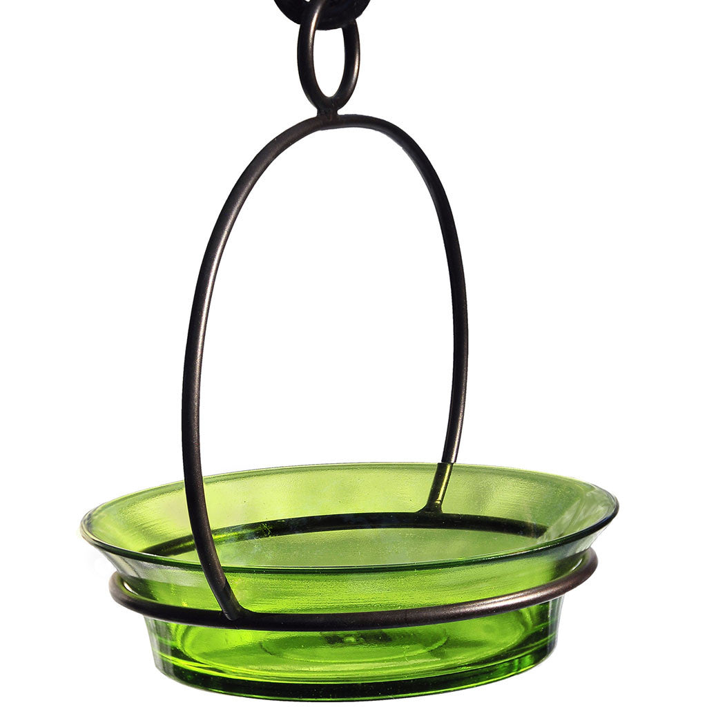 Couronne Co. 7.25 IN Lime Colorful Recycled Glass & Metal Cuban Bowl Birdbath