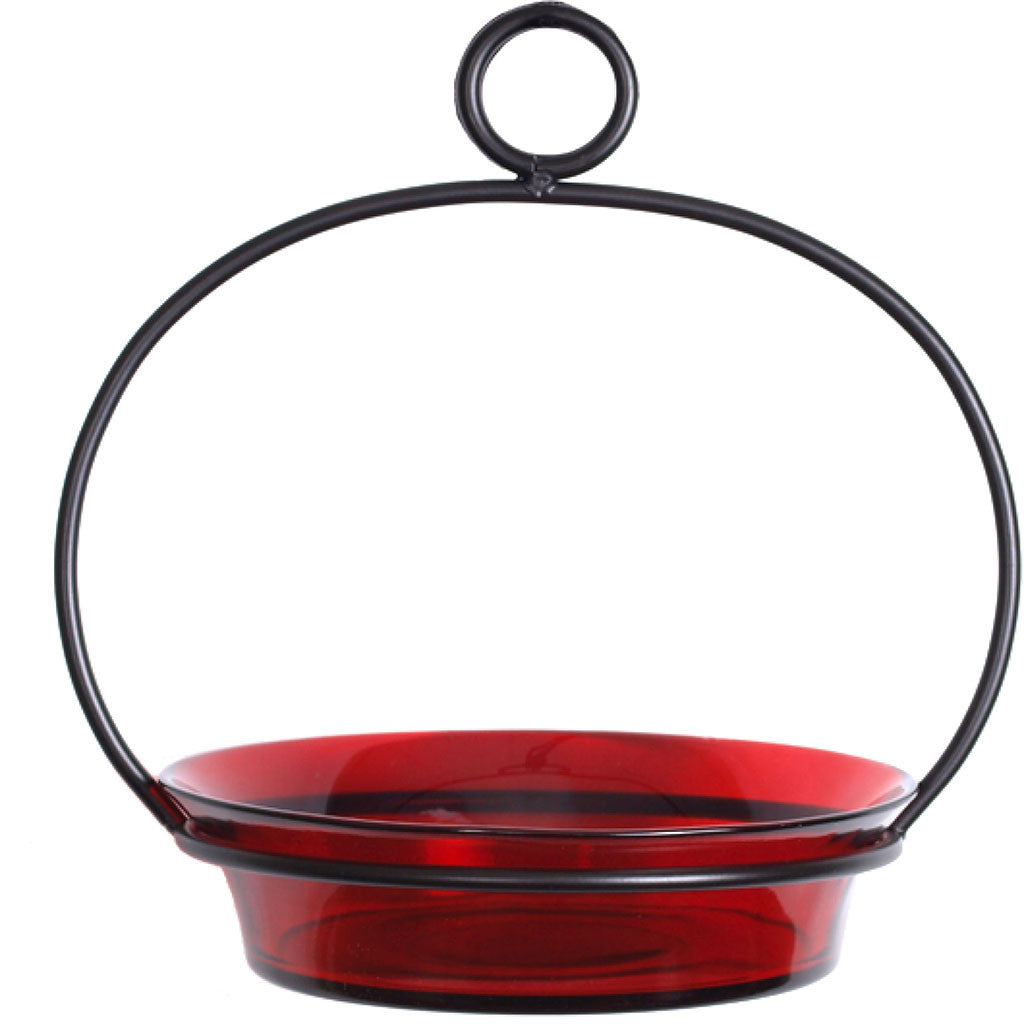 Couronne Co. 7.25 IN Red Colorful Recycled Glass & Metal Cuban Bowl Birdbath