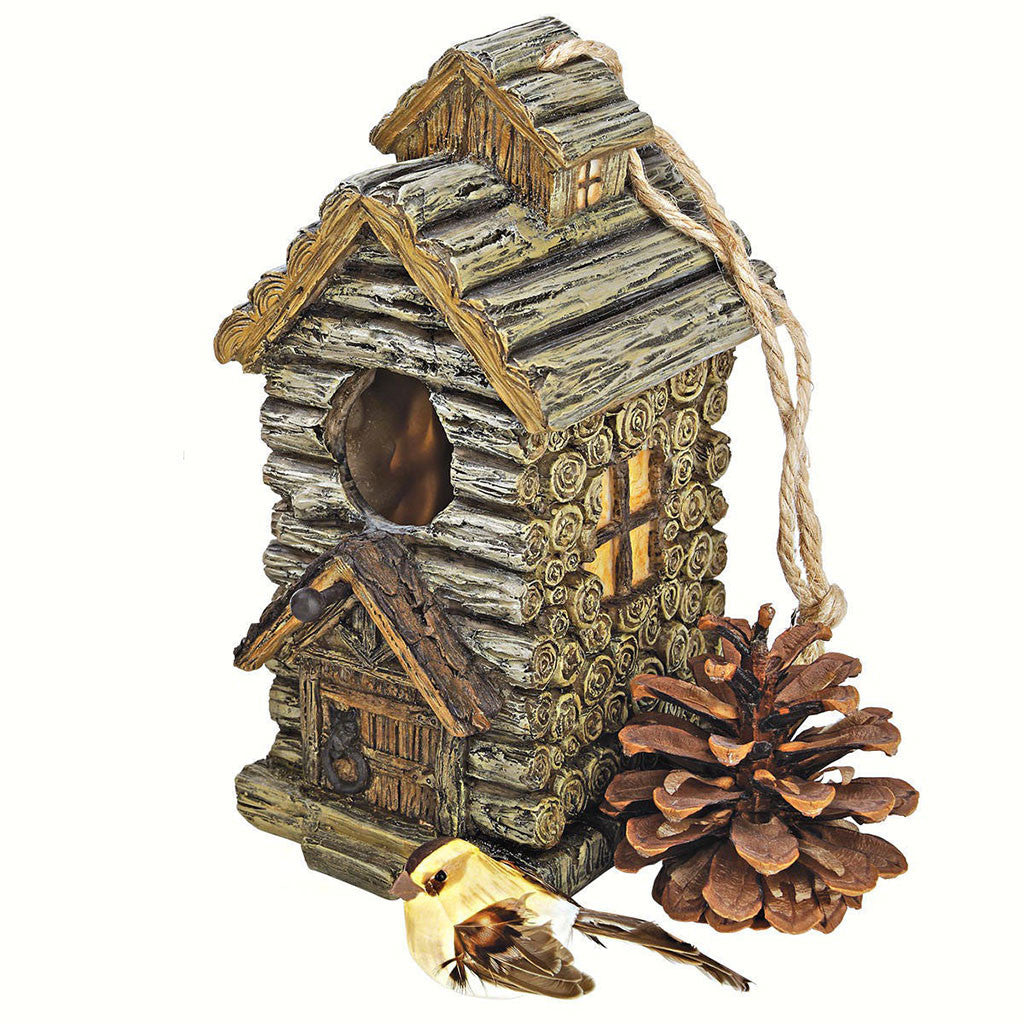 Design Toscano 5.5 IN x 4 IN x 8 IN Hand Painted Resin Backwoods Cabin Birdhouse