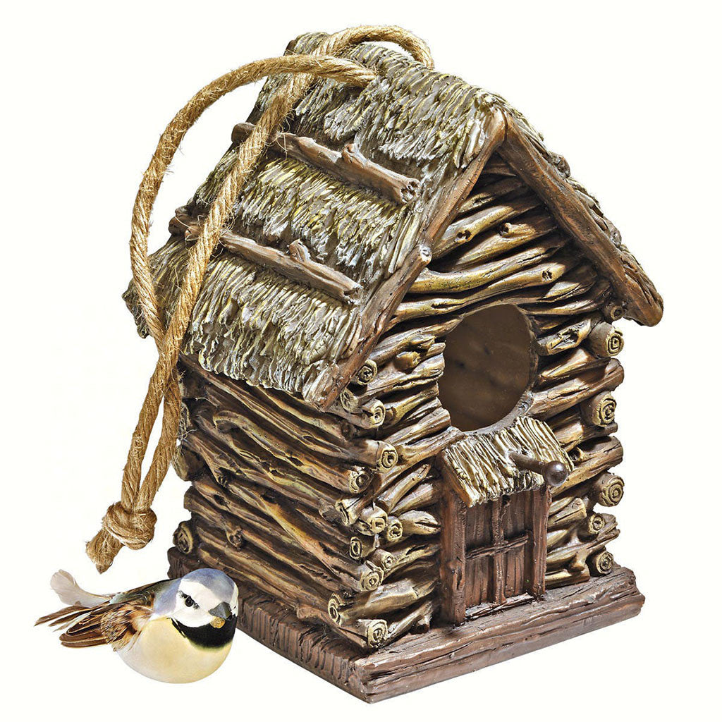 Design Toscano 6 IN x 5.5 IN x 7 IN Hand Painted Resin Backwoods Cottage Birdhouse