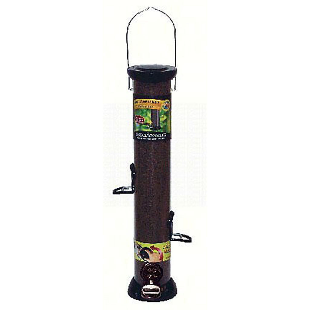 Droll Yankee Onyx 2.75 IN x 18 IN Tube 4 port Nyjer Seed Feeder w/removable Base