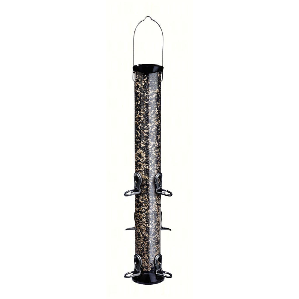 Droll Yankee Onyx 2.75 IN x 24 IN Tube 6 port Sunflower/Mixed Seed Feeder w/removable Base