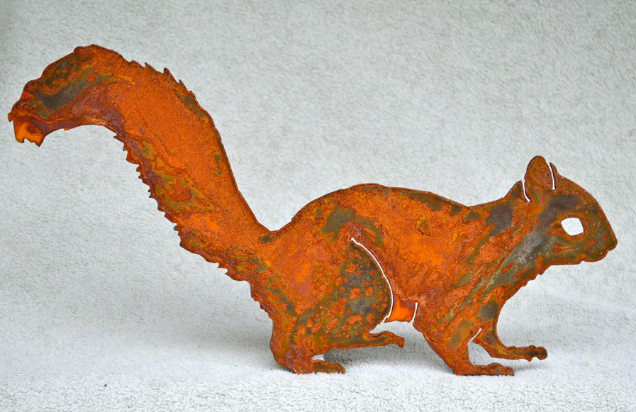 Handmade Rusted Steel Alert Squirrel Silhouette