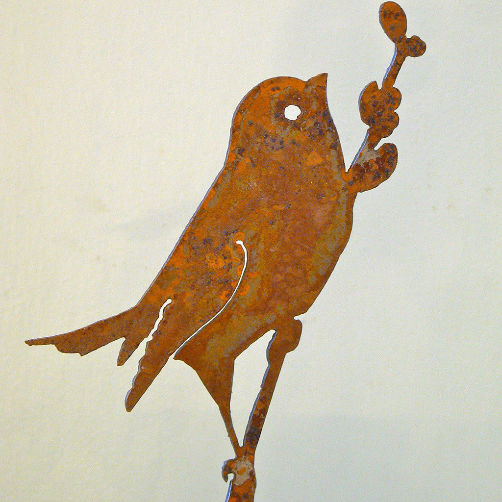 Elegant Garden Design Handmade /Rusted Steel Bird On Willow Silhouette